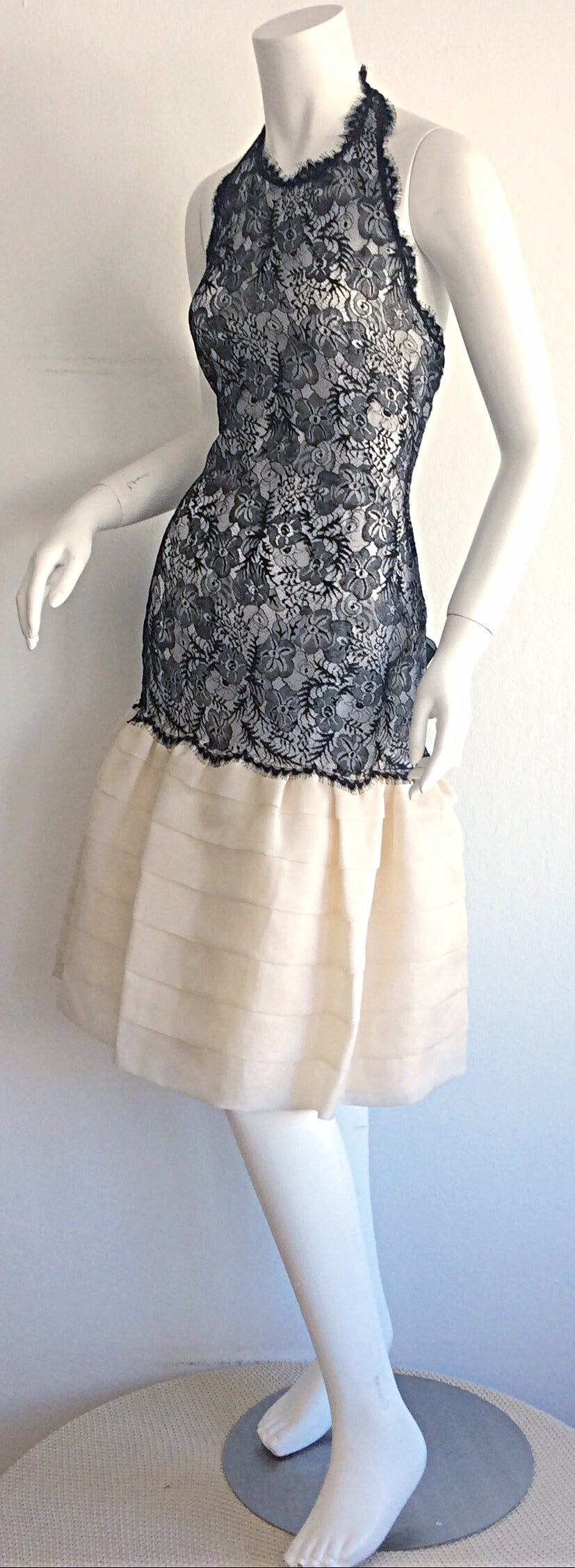 Gray Beautiful Vintage Mary McFadden Couture Numbered French Lace Dress For Sale