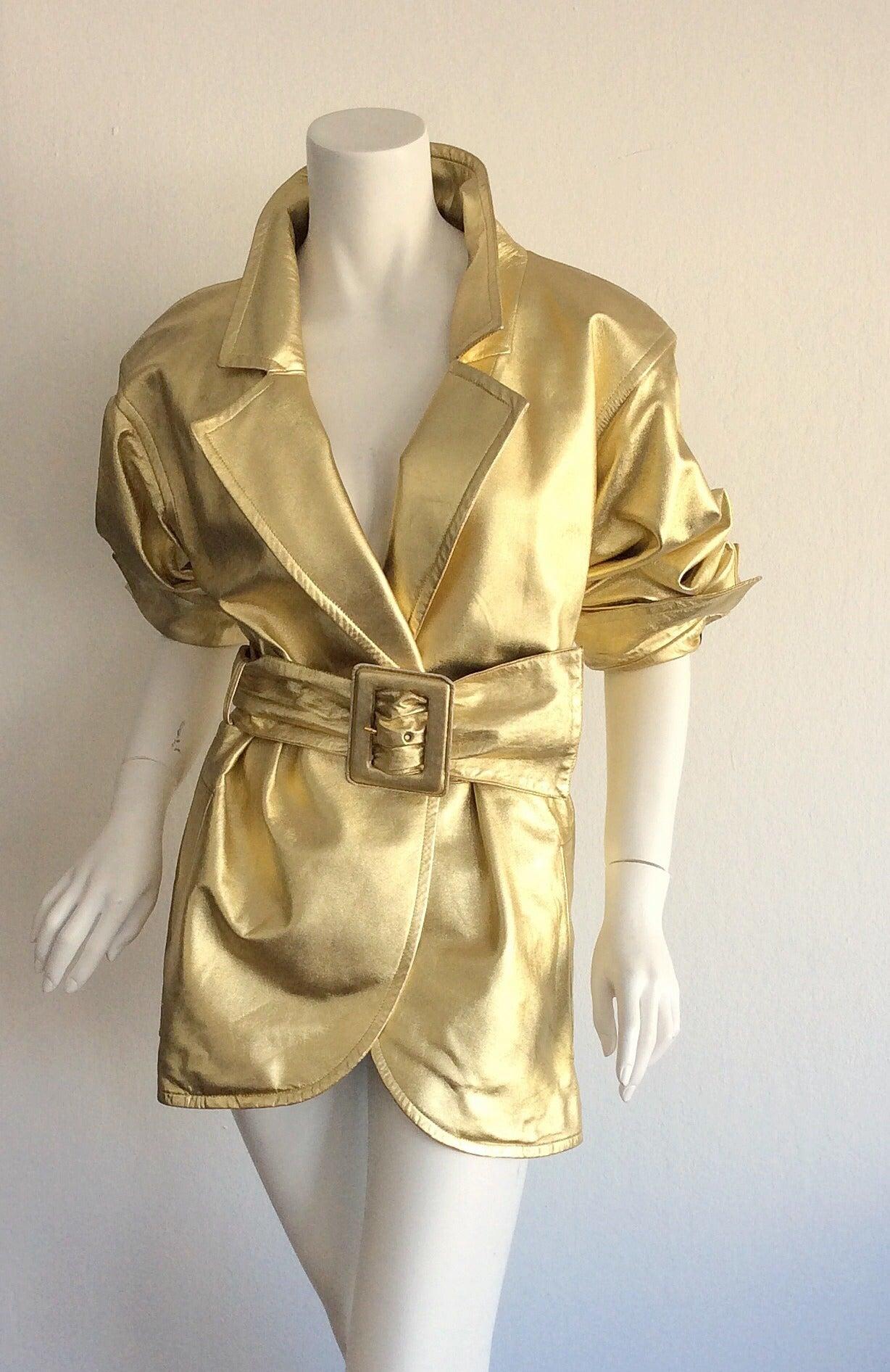 Vintage Yves Saint Laurent ' Rive Gauche ' Belted Gold Leather Jacket 2
