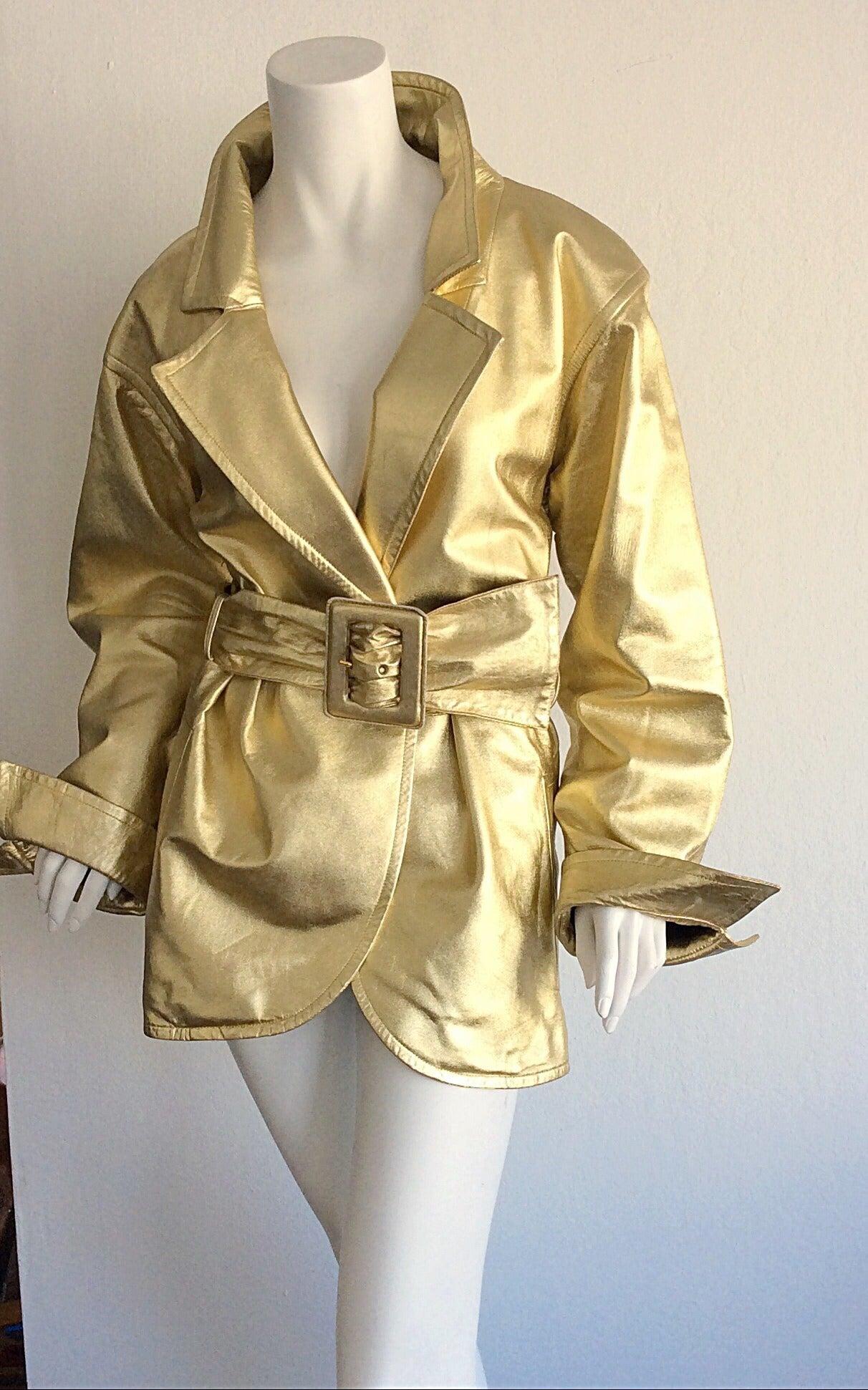 Vintage Yves Saint Laurent ' Rive Gauche ' Belted Gold Leather Jacket 8