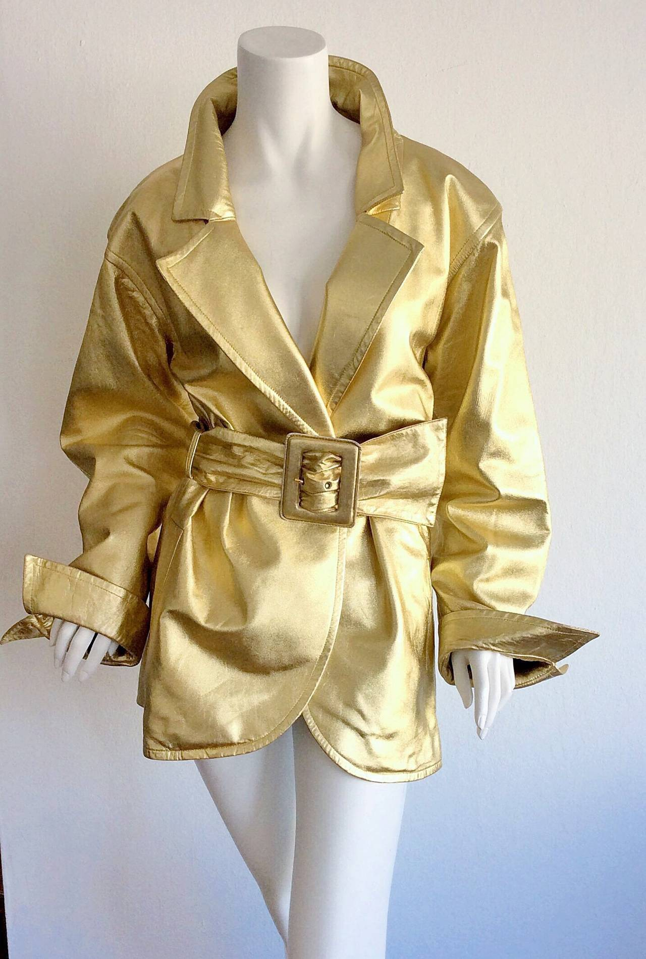 Vintage Yves Saint Laurent ' Rive Gauche ' Belted Gold Leather Jacket 3