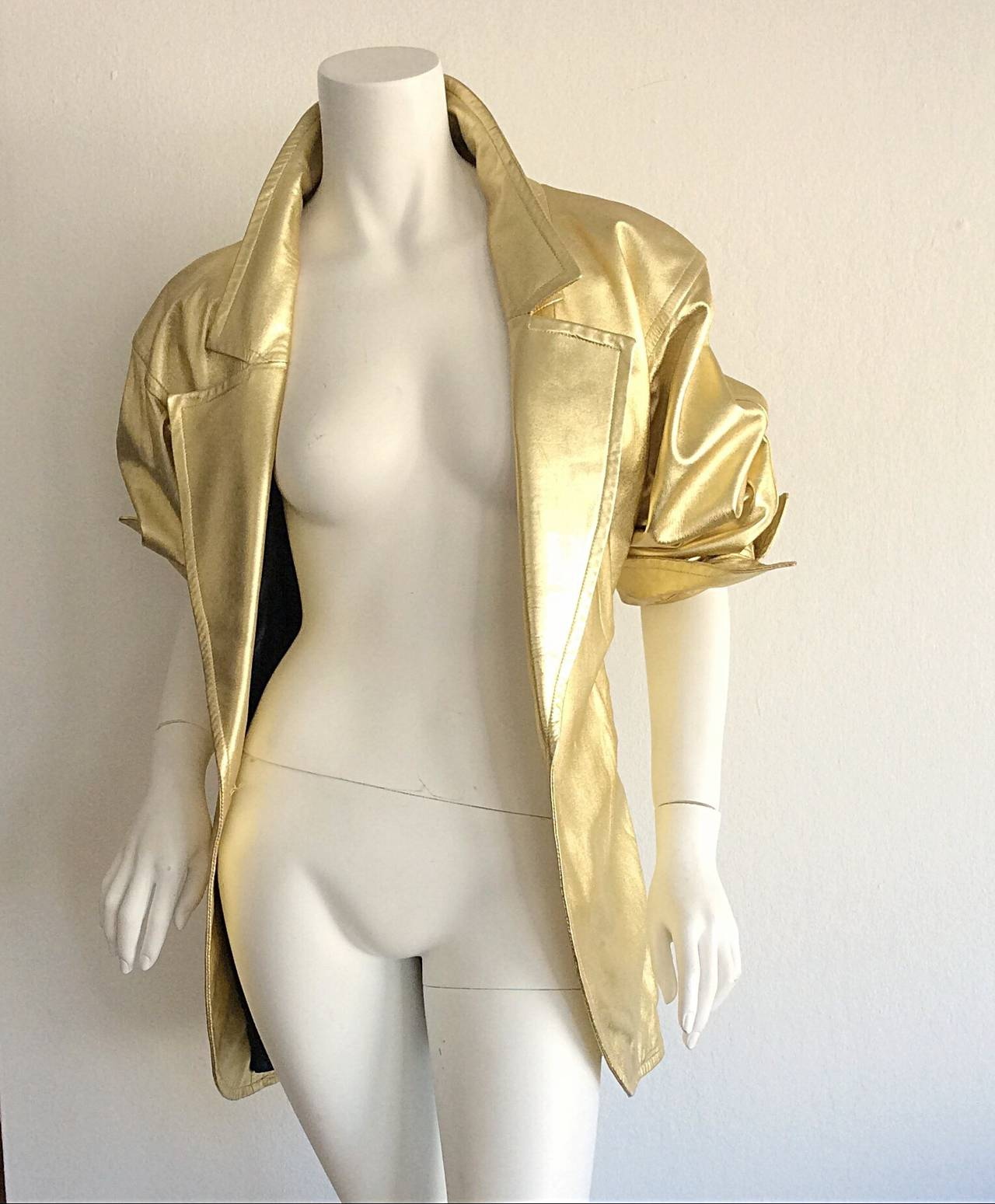 Vintage Yves Saint Laurent ' Rive Gauche ' Belted Gold Leather Jacket 6