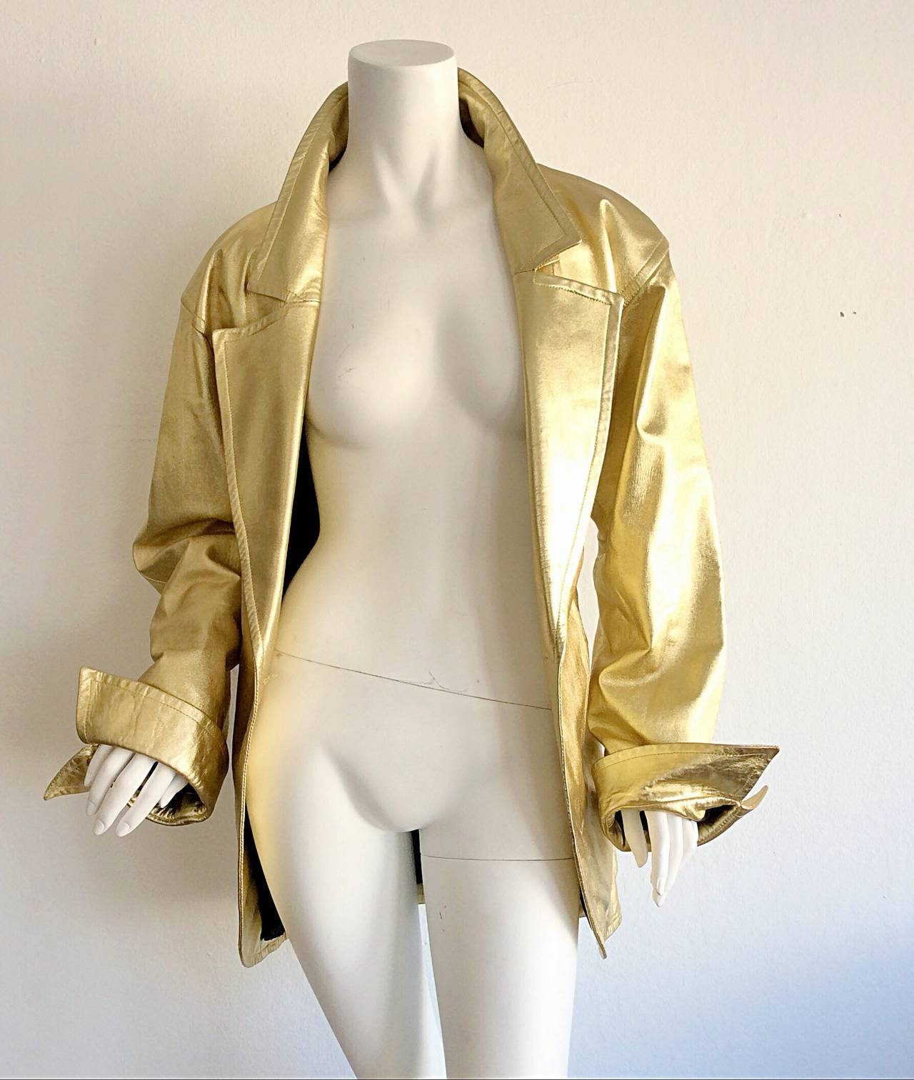 Vintage Yves Saint Laurent ' Rive Gauche ' Belted Gold Leather Jacket 4