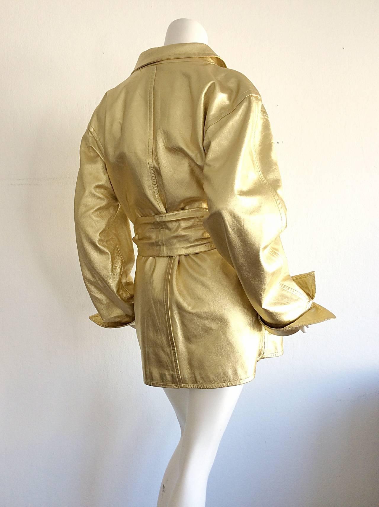 Vintage Yves Saint Laurent ' Rive Gauche ' Belted Gold Leather Jacket 9