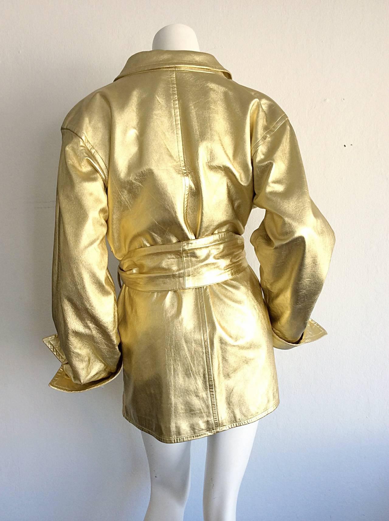 Vintage Yves Saint Laurent ' Rive Gauche ' Belted Gold Leather Jacket 5