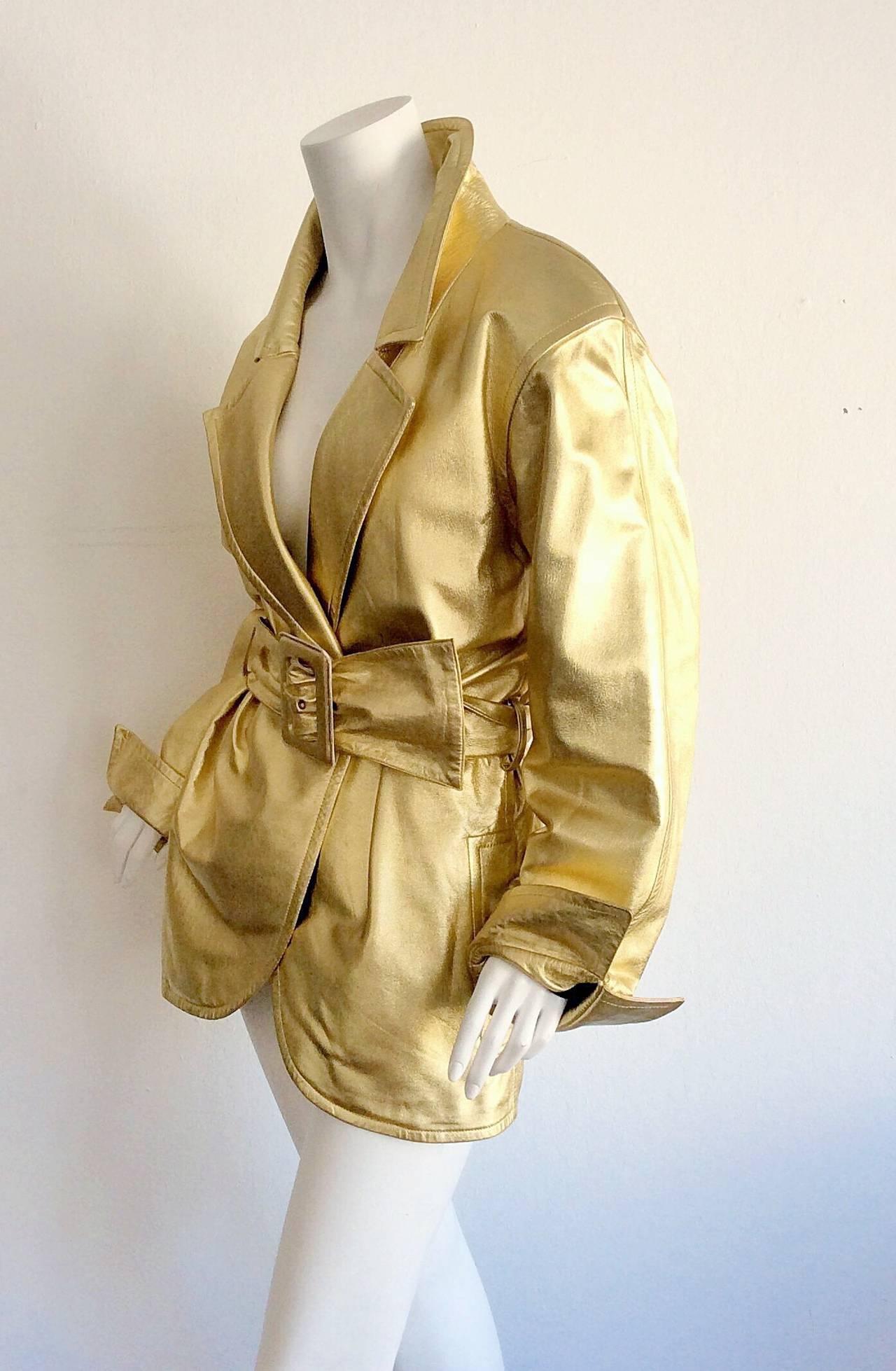 Vintage Yves Saint Laurent ' Rive Gauche ' Belted Gold Leather Jacket 10