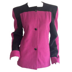 Vintage Carolina Herrera Pink & Black Color Block Jacket