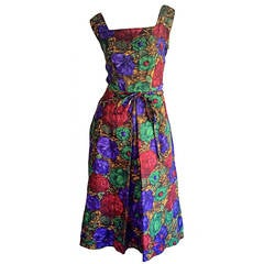 Stunning 1950s Adele Ross Silk Floral Watercolor Belted Dress