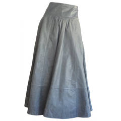 Rare Early Vintage Guy Laroche Elephant Grey Leather Maxi Skirt