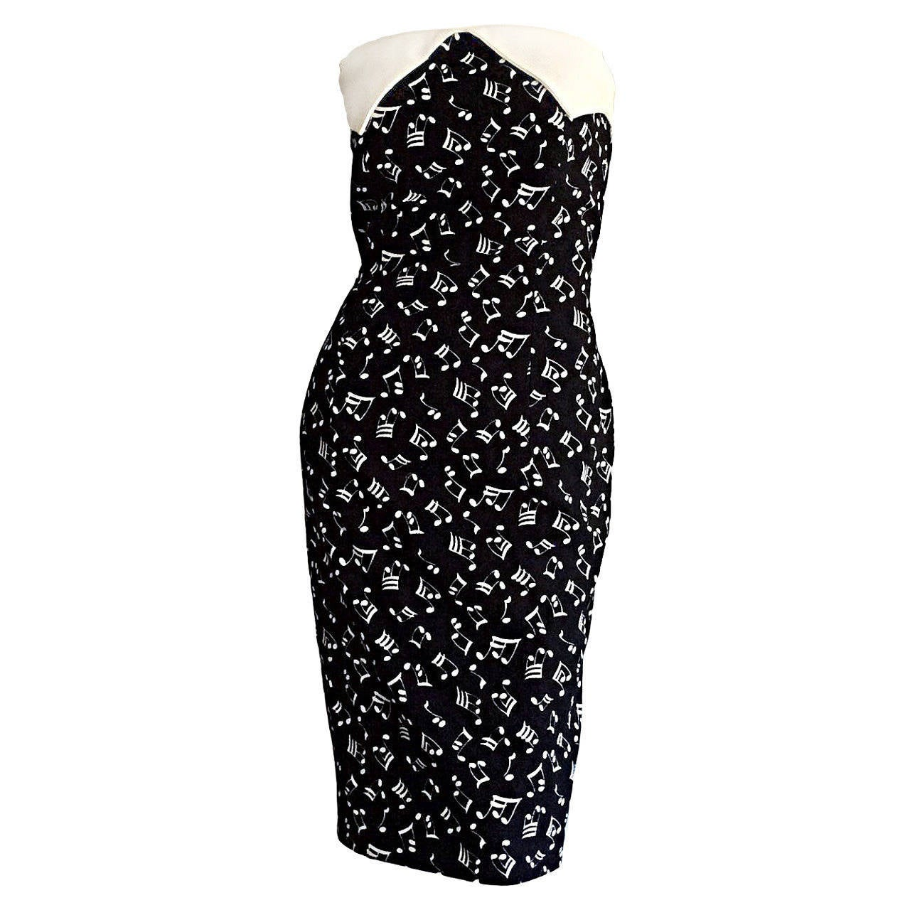 Iconic Vintage Patrick Kelly ' Music Notes ' Strapless Cotton Dress For Sale