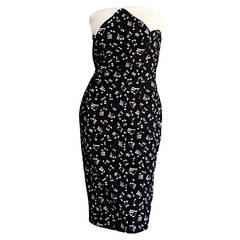 Iconic Vintage Patrick Kelly ' Music Notes ' Strapless Cotton Dress