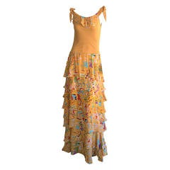 Incredible 1970s Stephen Burrows Jersey Maxi Dress Silk Tiered Skirt Brand New