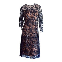 Exceptional 1960s 60s Black French Lace Nude Illusion Sequin Babydoll Dress