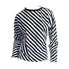 "Vintage Koos Van Den Akker Black & White "" Jail Bird "" Striped Cotton Blouse"
