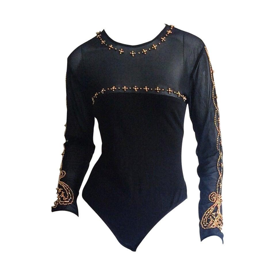 Sexy Vintage Bob Mackie Bodysuit Unitard Onesie w  Elaborate Gold Beading  at 1stdibs 2b0bba5aa