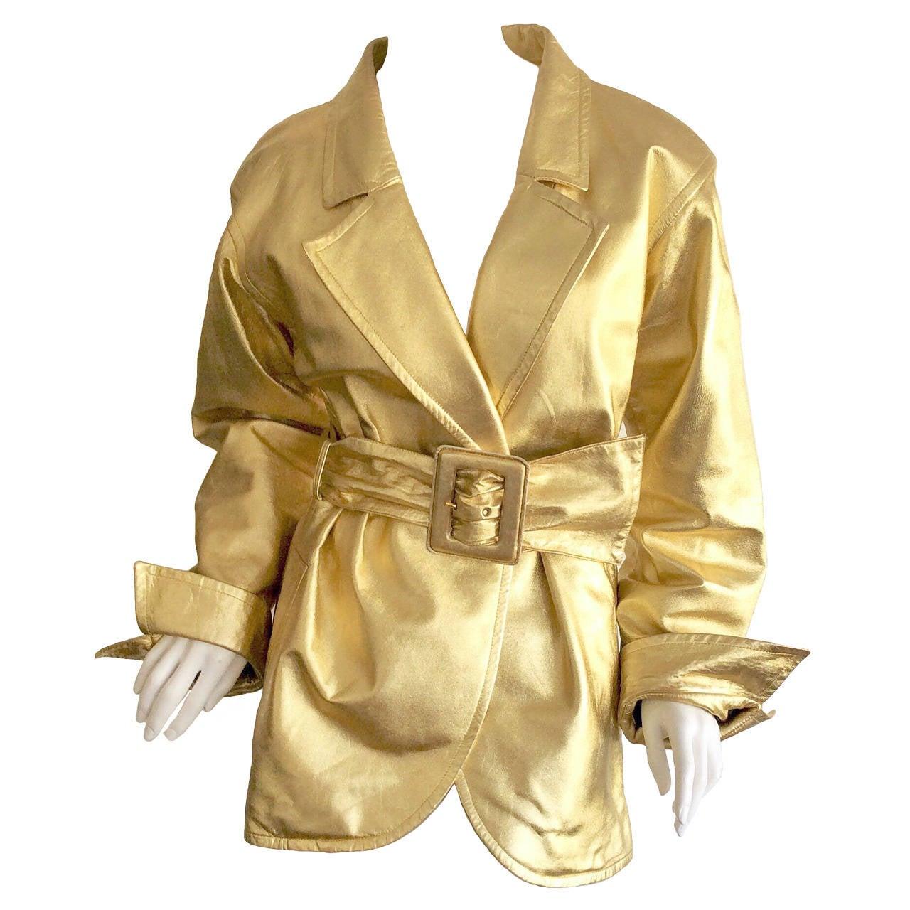 Vintage Yves Saint Laurent ' Rive Gauche ' Belted Gold Leather Jacket 1
