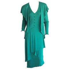 Romantic Vintage Holly's Harp Boho Silk Jersey Dress / Kelly Green Cape Detail