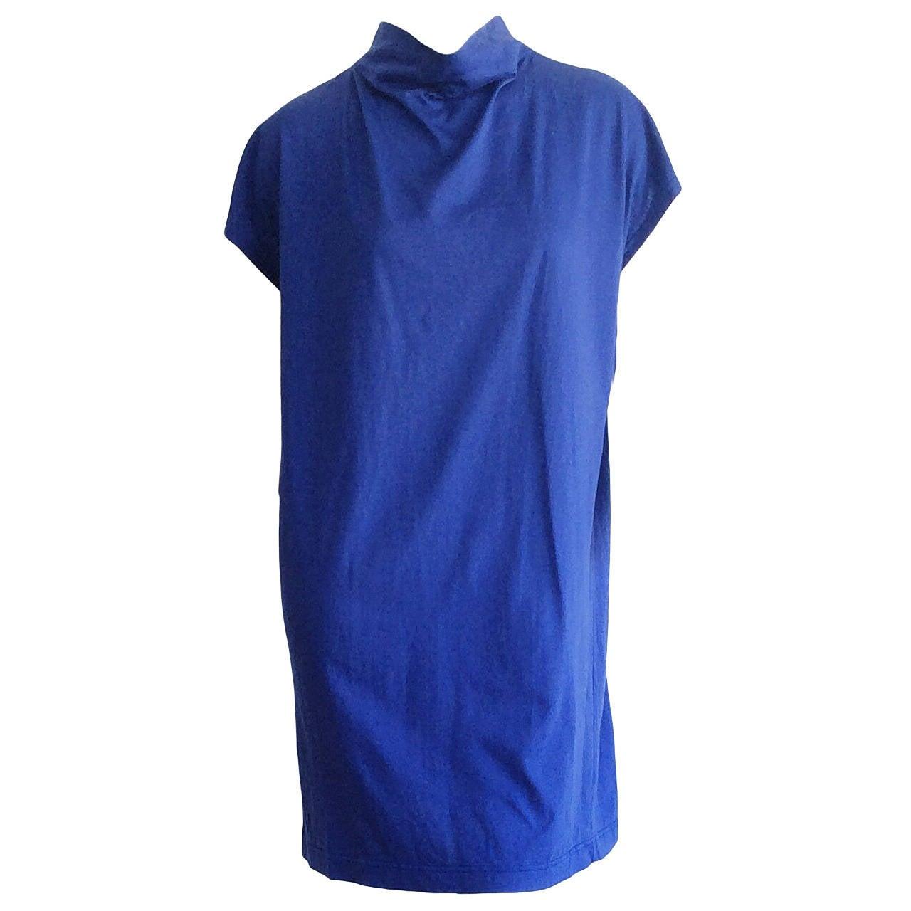 Rare Vintage Issey Miyake Plantation Royal Blue Smock Cotton T - Shirt Dress