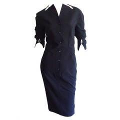 Vintage Thierry Mugler Black ' Silver Bullet ' Avant Garde 1990s Dress