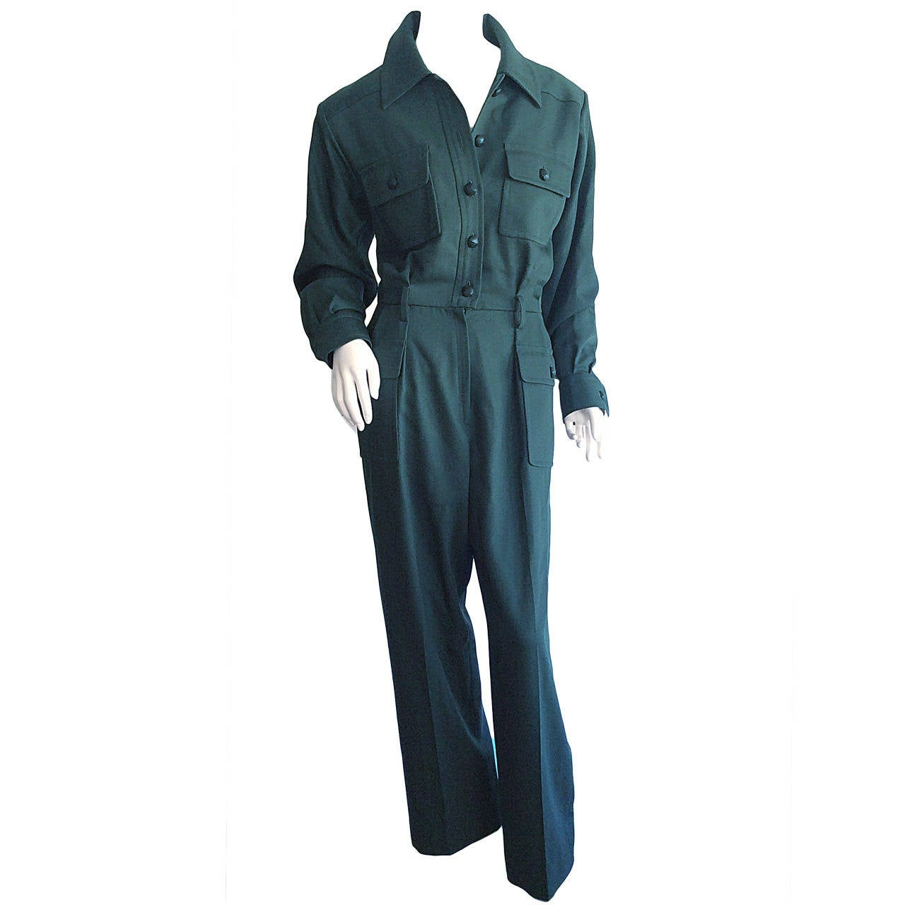 26e5cc14c1a Iconic Vintage Yves Saint Laurent ' Rive Gauche ' Army Green Jumpsuit  Onesie For Sale