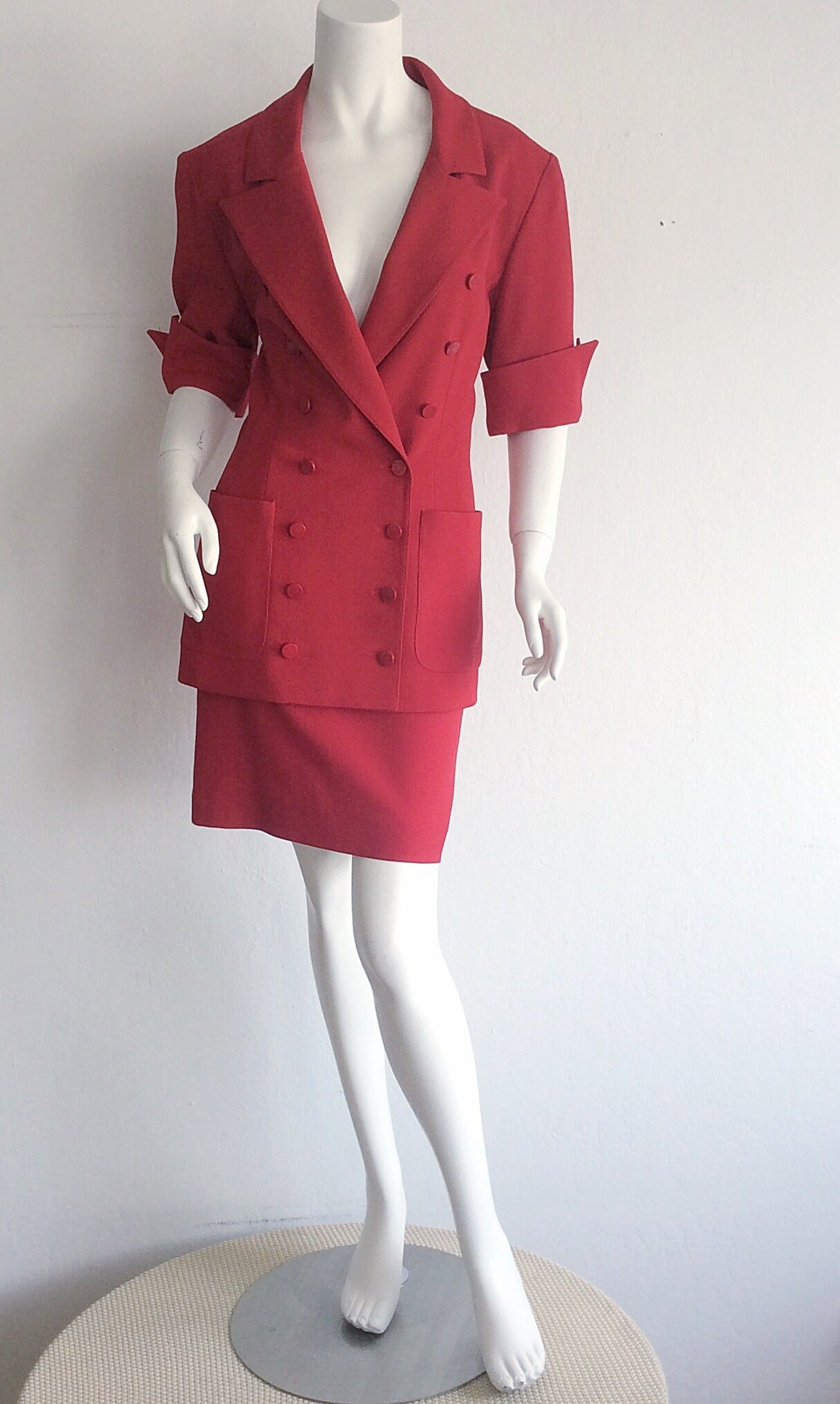 Incredible vintage Karl Lagerfeld for Bergdorf Goodman short sleeved double breasted suit! Flattering short cuffed sleeves, with chic double breasted bodice. High waisted pencil skirt. Fully lined. In great condition. Perfect together, yet great as