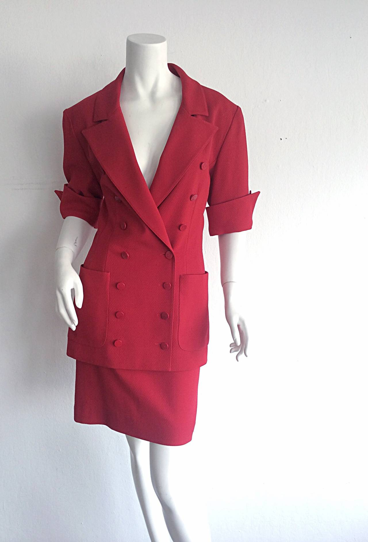 Gorgeous 1990s Vintage Karl Lagerfeld Bright Red Double Breasted Skirt Suit In Excellent Condition For Sale In San Francisco, CA