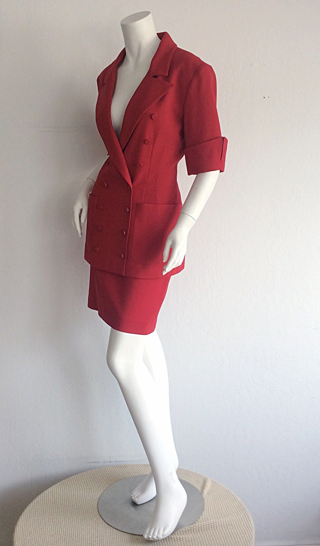Women's Gorgeous 1990s Vintage Karl Lagerfeld Bright Red Double Breasted Skirt Suit For Sale