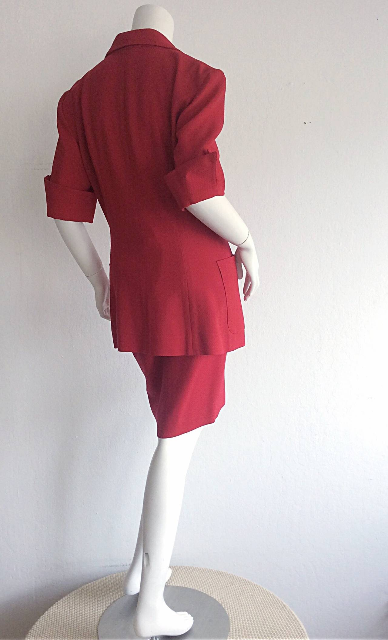 Gorgeous 1990s Vintage Karl Lagerfeld Bright Red Double Breasted Skirt Suit For Sale 1