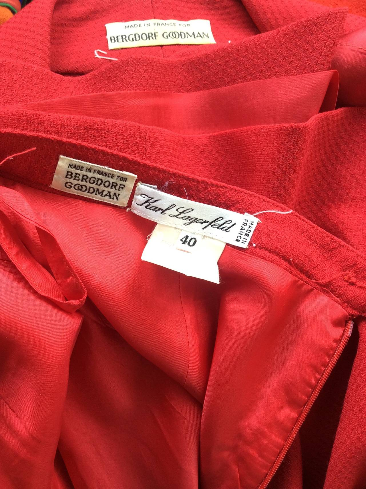 Gorgeous 1990s Vintage Karl Lagerfeld Bright Red Double Breasted Skirt Suit For Sale 2