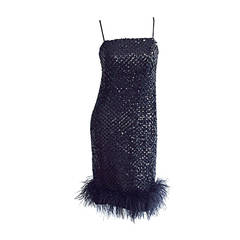Beautiful 1960s 60s I. Magnin Black Sequin Ostrich Feather Shift Dress LBD