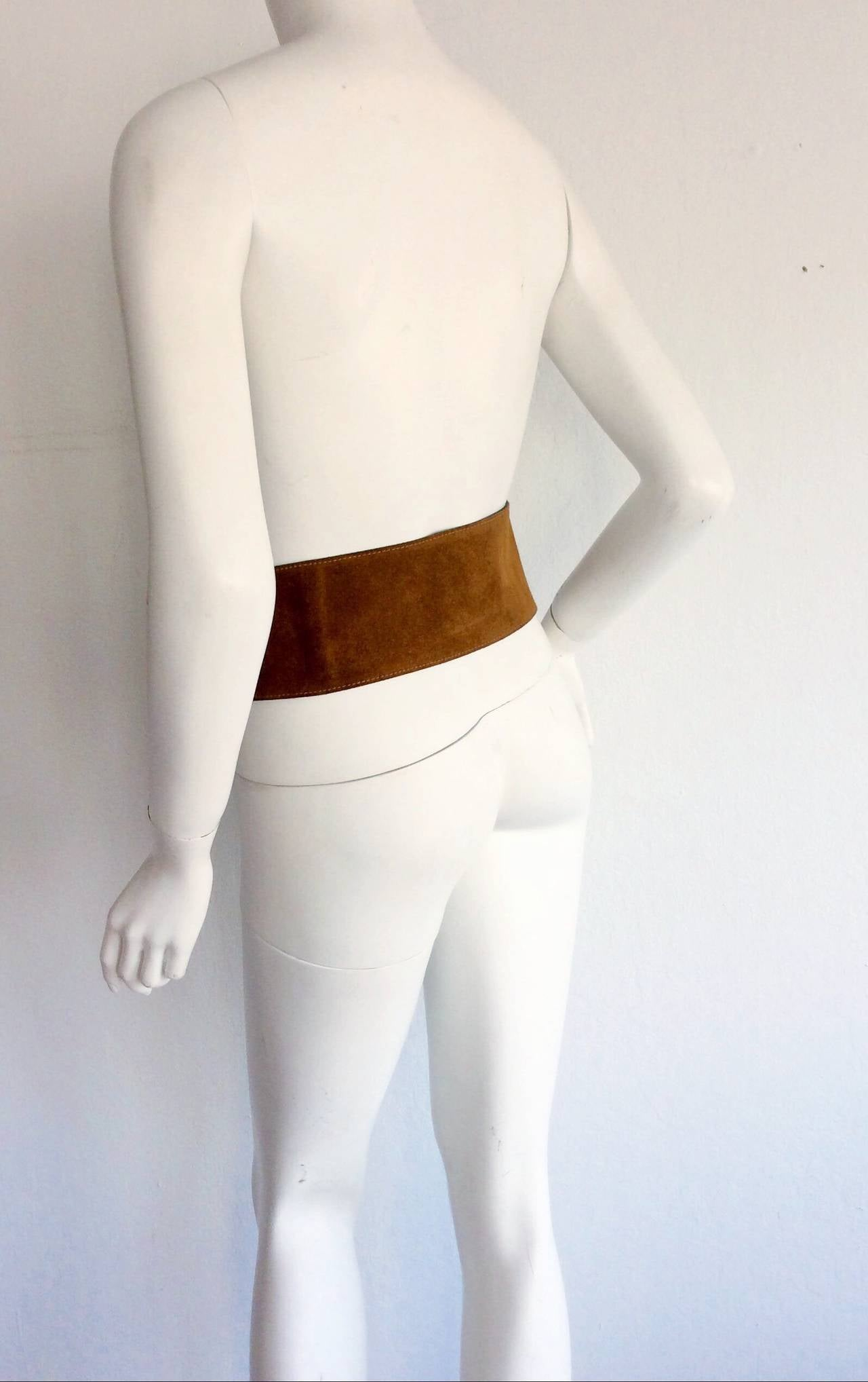 1960s 1970s Brand New Vintage Calderon Oversized Jumbo Tan Suede Boho Belt 4