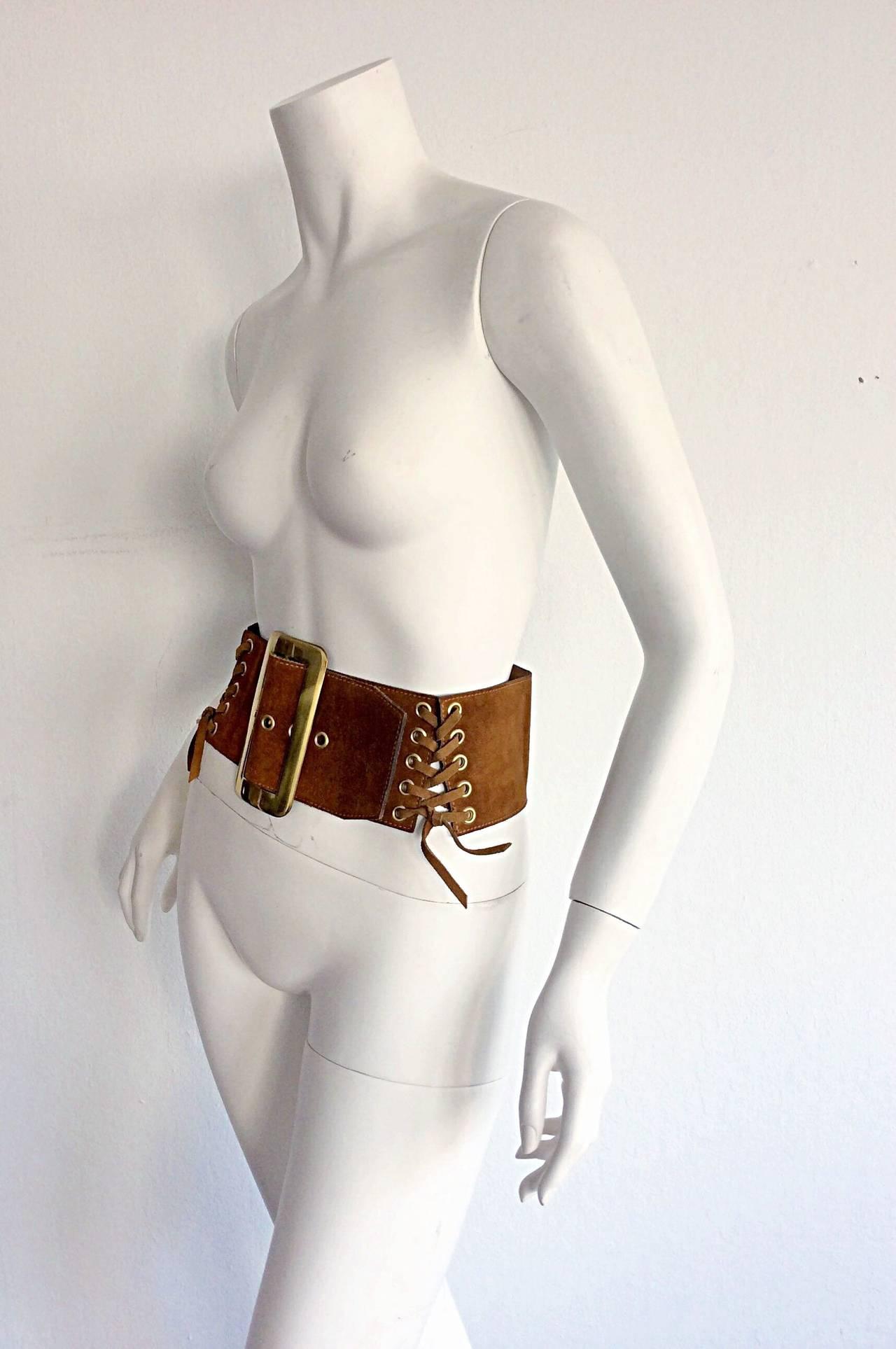 1960s 1970s Brand New Vintage Calderon Oversized Jumbo Tan Suede Boho Belt 5