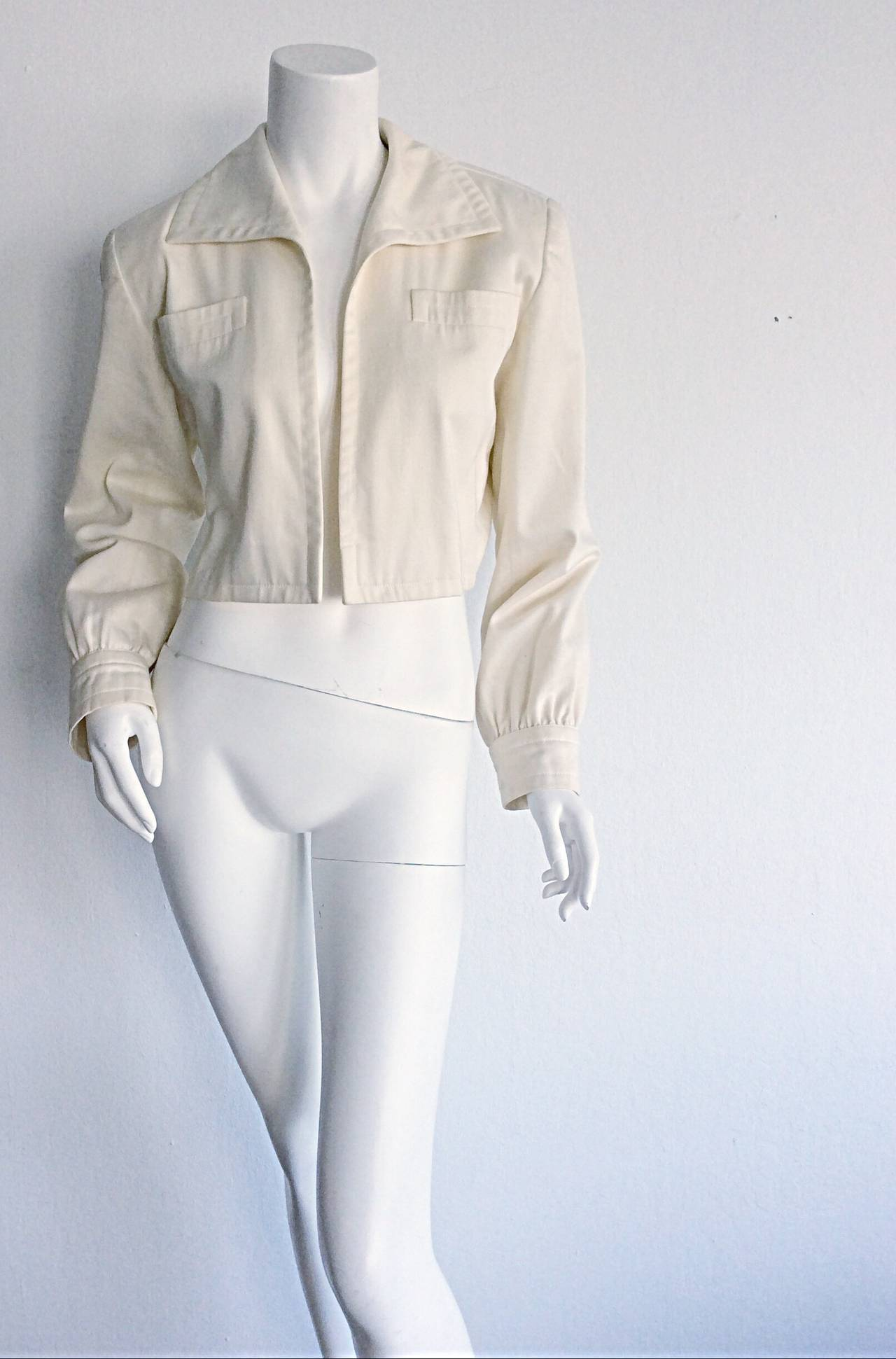Vintage Yves Saint Laurent ' Rive Gauche ' Ivory Cream Cropped Blazer Bolero In Excellent Condition For Sale In San Francisco, CA
