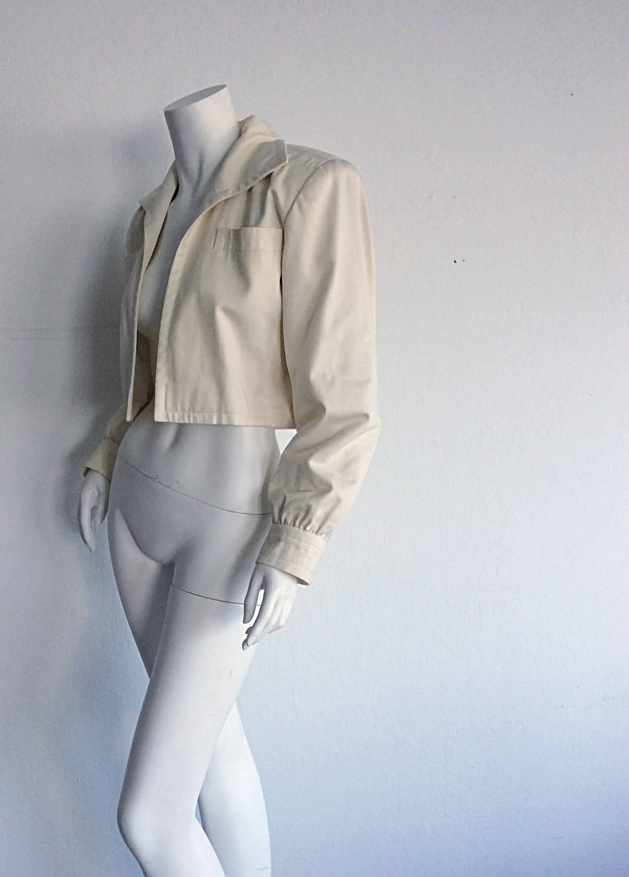 Women's Vintage Yves Saint Laurent ' Rive Gauche ' Ivory Cream Cropped Blazer Bolero For Sale
