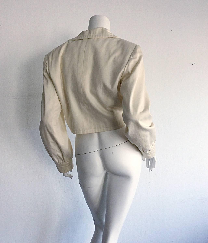 Vintage Yves Saint Laurent ' Rive Gauche ' Ivory Cream Cropped Blazer Bolero For Sale 1