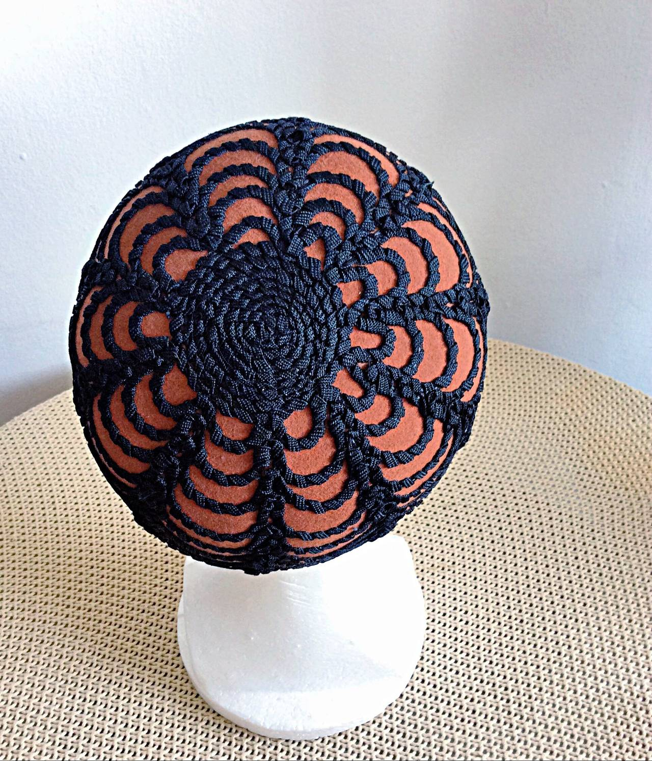 Black Incredible Vintage 1960s Henry Pollak for Glenover Russian Pillbox Hat For Sale