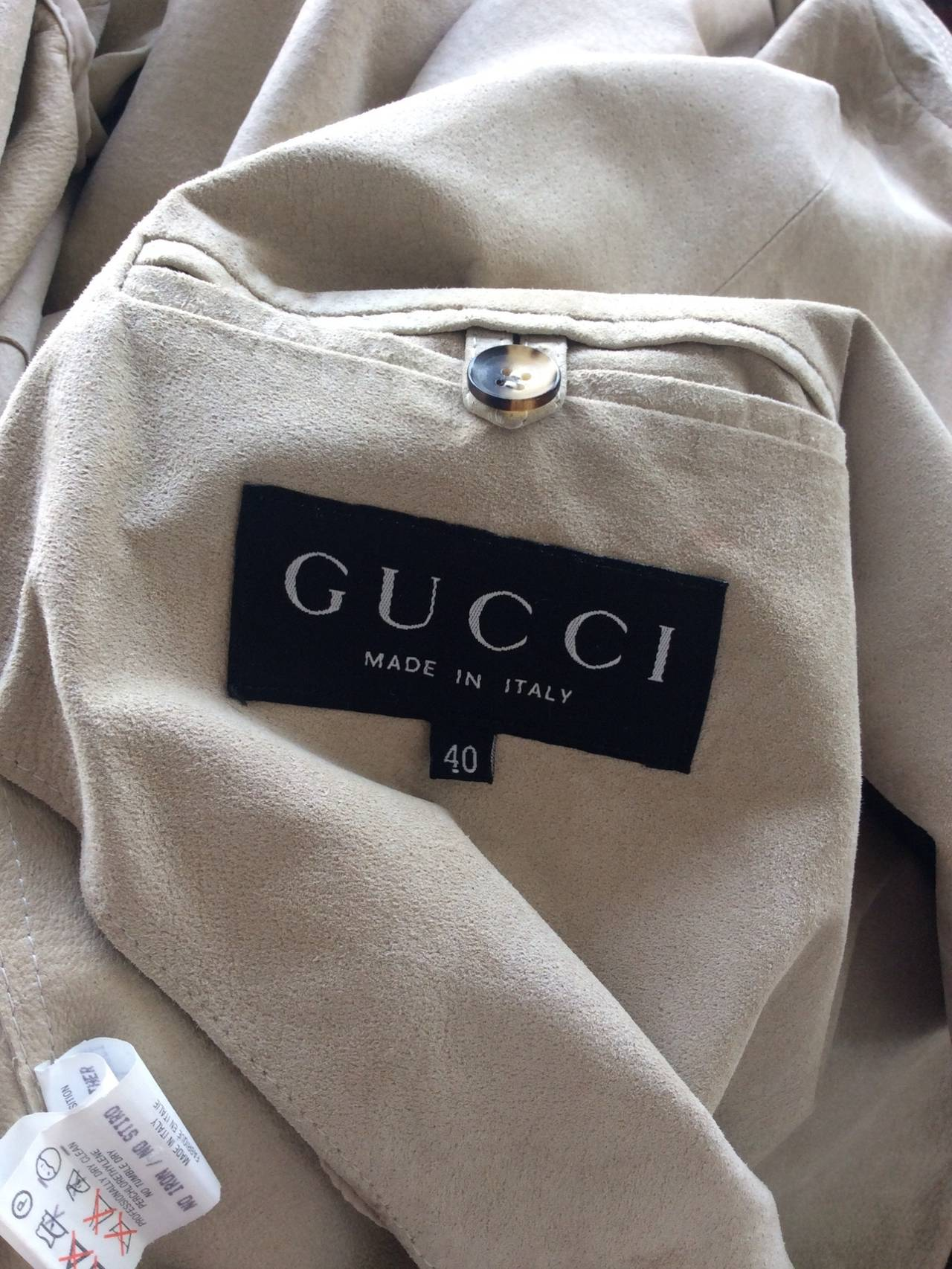 Tom Ford For Gucci 1990s Suede Leather Stone Khaki Belted Spy Trench Coat Jacket For Sale 2
