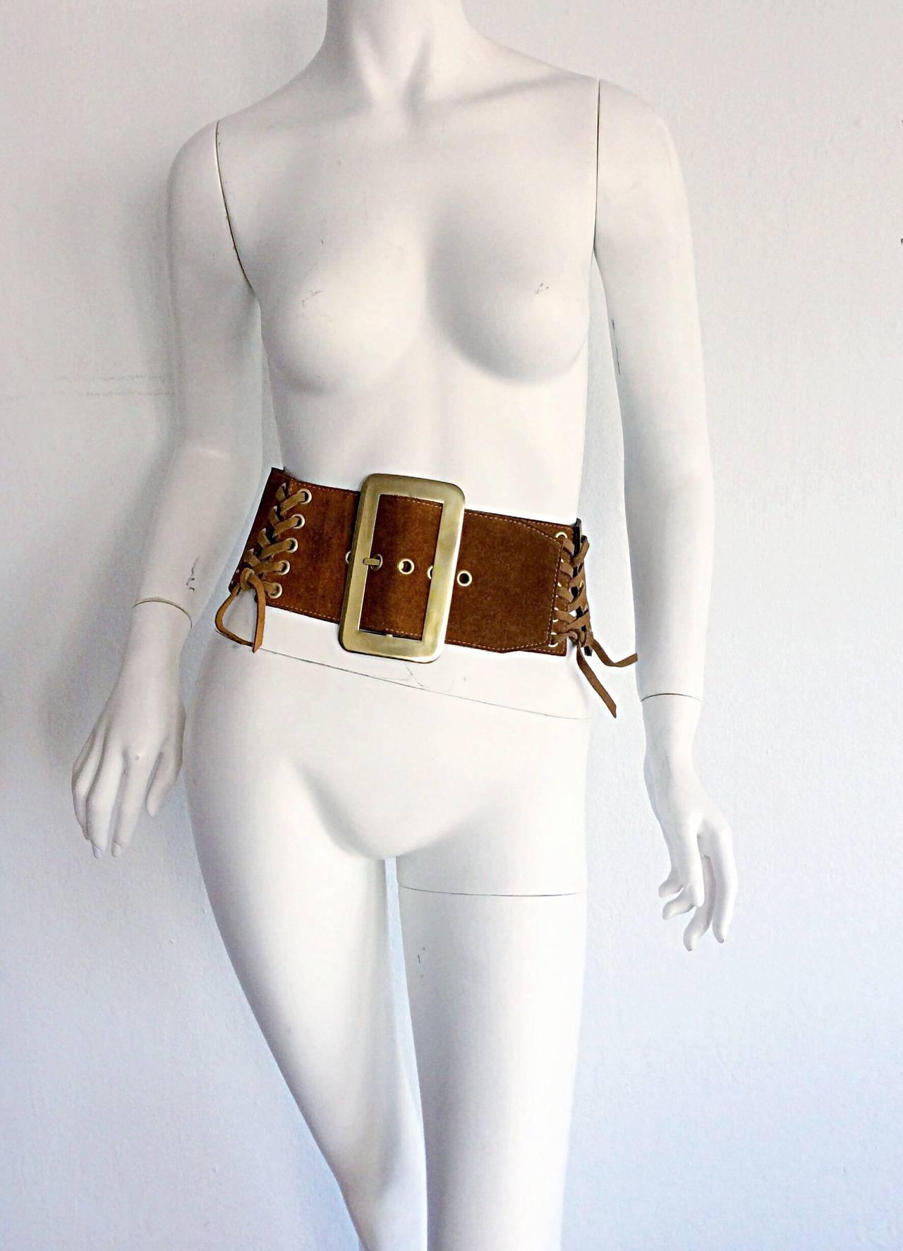 1960s 1970s Brand New Vintage Calderon Oversized Jumbo Tan Suede Boho Belt 2