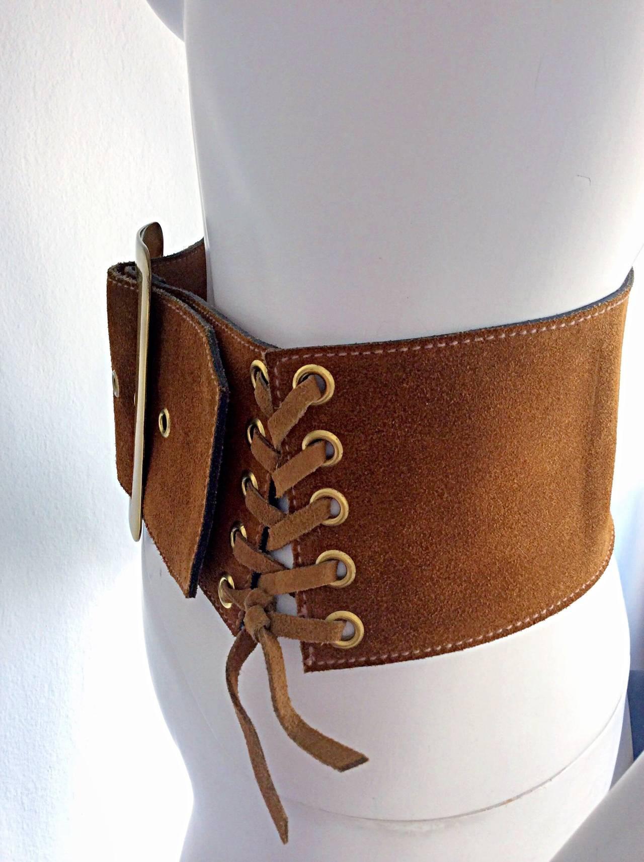 1960s 1970s Brand New Vintage Calderon Oversized Jumbo Tan Suede Boho Belt 3