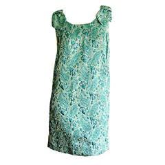 Cutest 1960s 60s Metallic Brocade Paisley Babydoll Cocktail Dress