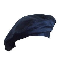 Vintage Chanel Black Silk Satin French Beret Hat