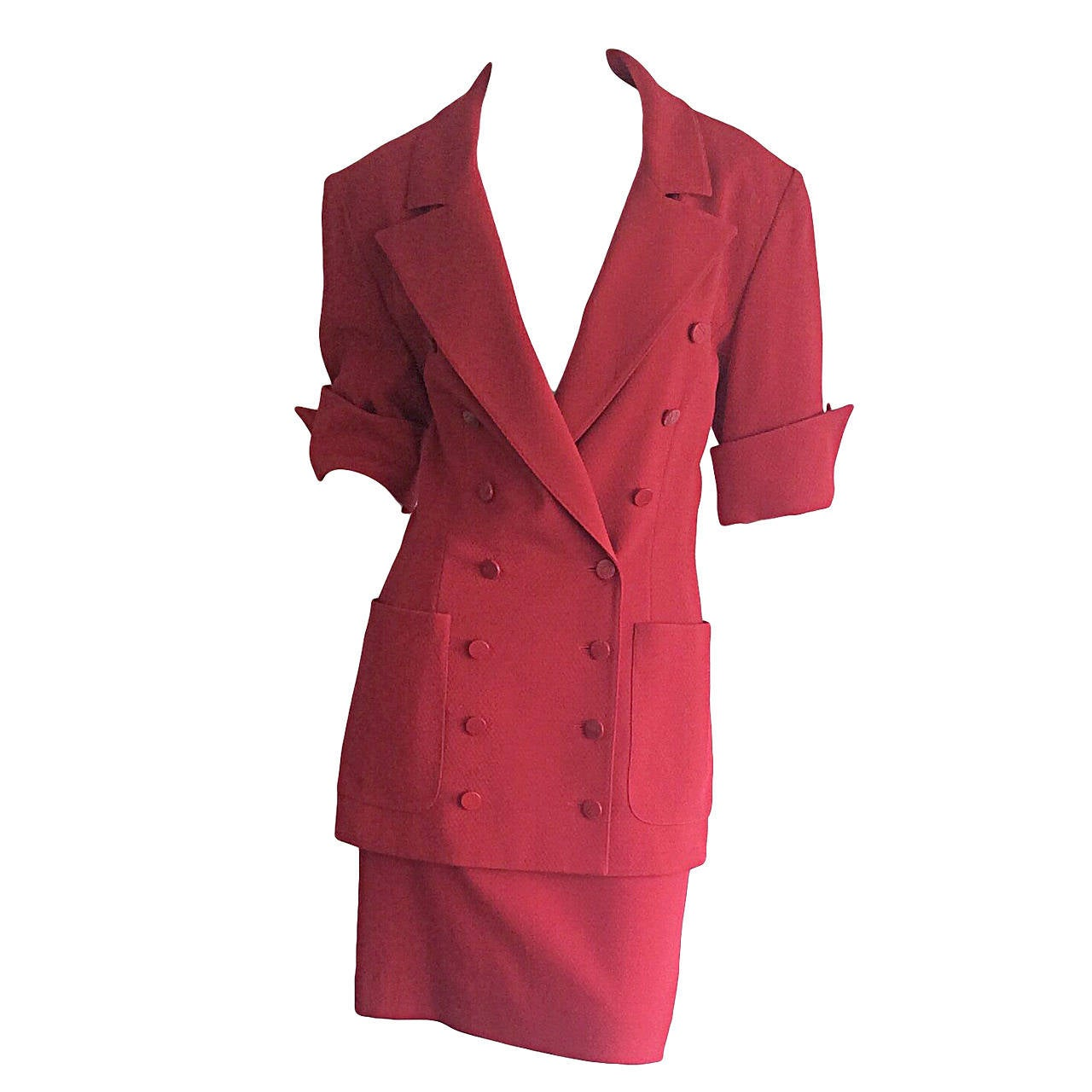 Gorgeous 1990s Vintage Karl Lagerfeld Bright Red Double Breasted Skirt Suit For Sale