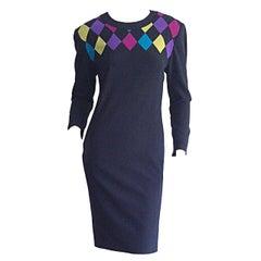 Vintage Louis Feraud Size 4 / 6 Harlequin Geometric Midnight Navy Blue Dress