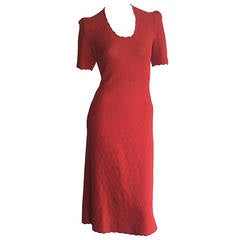 1960s Vintage Adolfo for Saks 5th Ave. Knit 60s Dress Lipstick Red