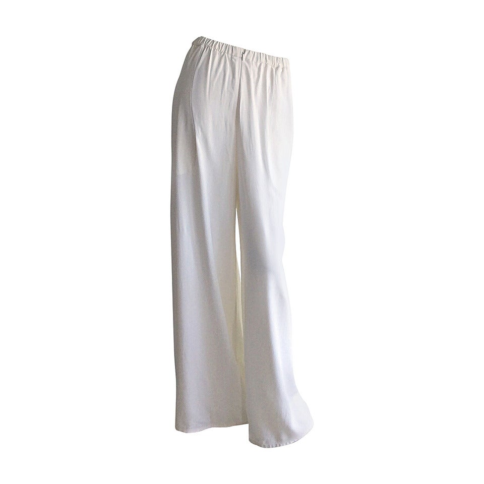 1990s Vintage Christian Lacroix Wide Leg White Palazzo Runway Trousers Brand New 1