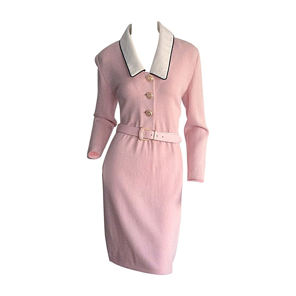 Vintage St. John Marie Gray Pink Santana Knit Belted Dress w/ Removable Collar