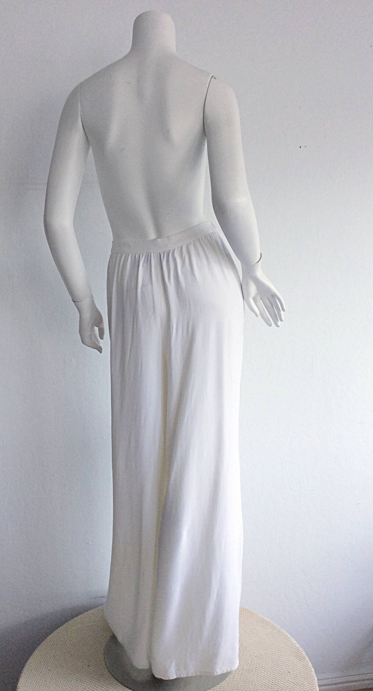 1990s Vintage Christian Lacroix Wide Leg White Palazzo Runway Trousers Brand New 4