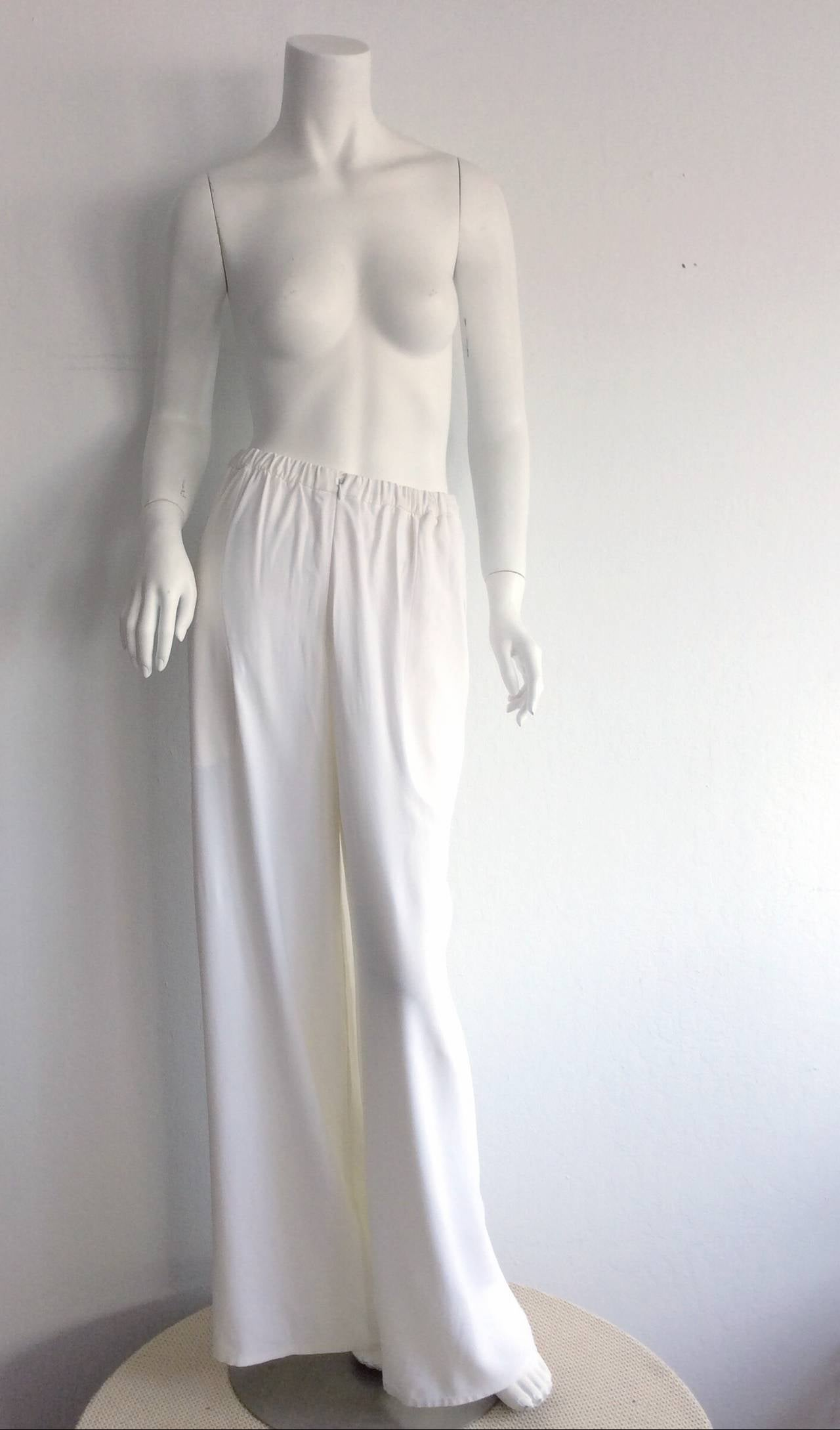 1990s Vintage Christian Lacroix Wide Leg White Palazzo Runway Trousers Brand New 5