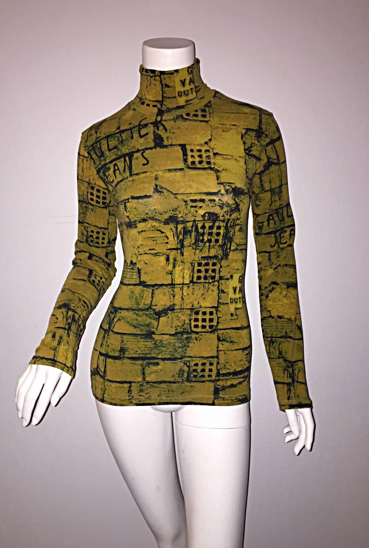 Rare 1990s Vintage Jean Paul Gaultier Graffiti Brick Print Scribble Blouse Shirt 2