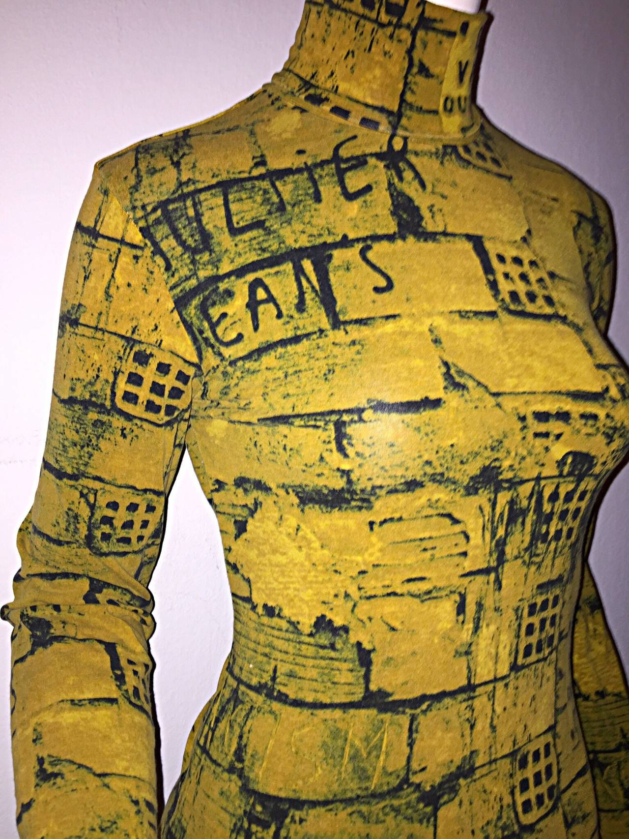 Rare 1990s Vintage Jean Paul Gaultier Graffiti Brick Print Scribble Blouse Shirt 3