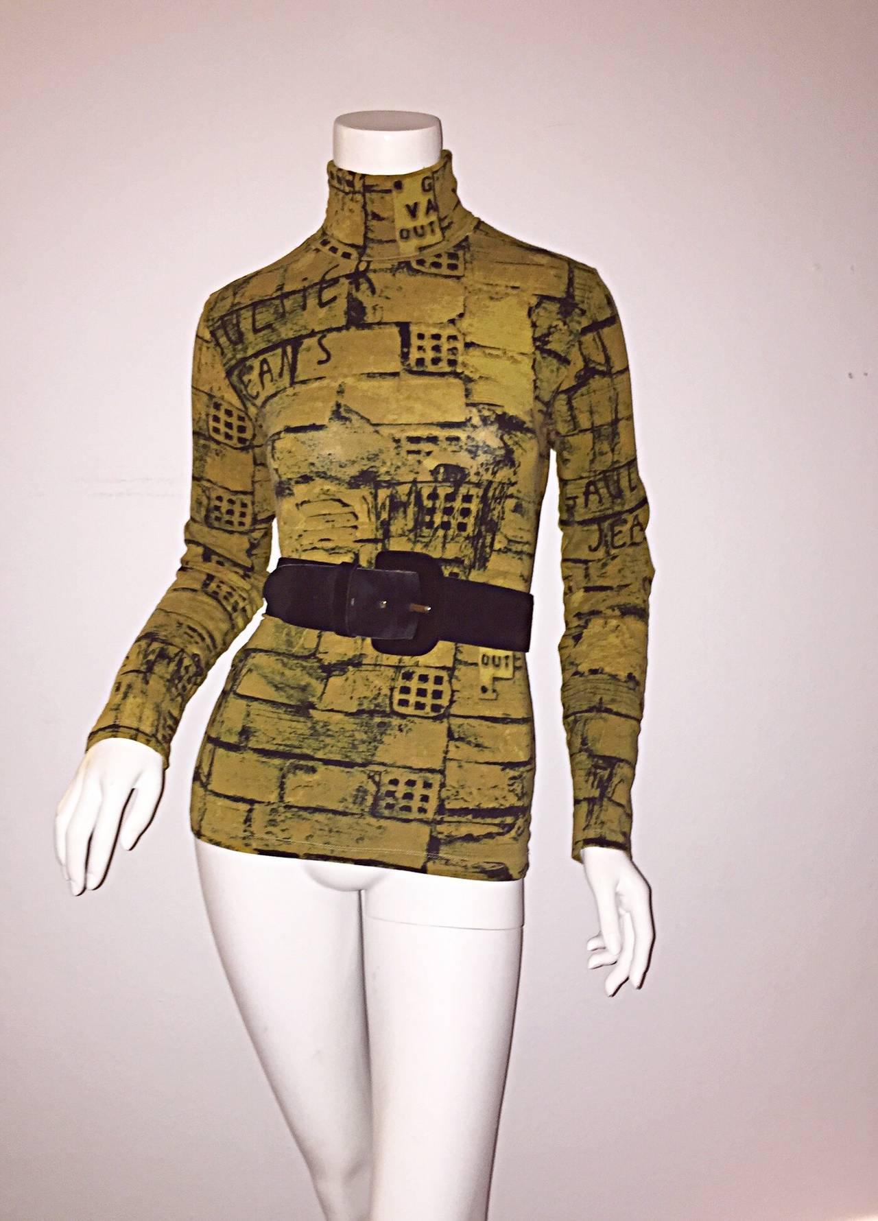 Rare 1990s Vintage Jean Paul Gaultier Graffiti Brick Print Scribble Blouse Shirt 5